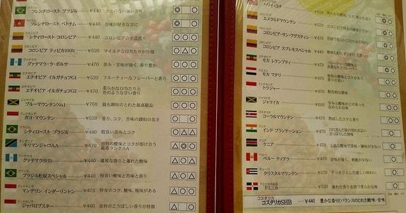 ルパンのコーヒーメニュー 世界各地の銘柄がズラリ パート2